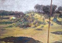 Септемврийски плаж, акрил, Ангел Китипов - преподавател по Живопис и Рисуване