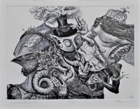 Карнавал I, офорт, Димитър Келбечев - преподавател по Рисуване