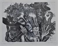 Карнавал III, офорт, Димитър Келбечев - преподавател по Рисуване
