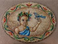 Дете в медалион, мозайка, Кристина Кутлова - преподавател по Стенопис и Рисуване