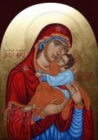 Св. Богородица с младенеца, яйчна темпера, 23,3 карата злато, Траян Добрев - преподавател по Иконопис